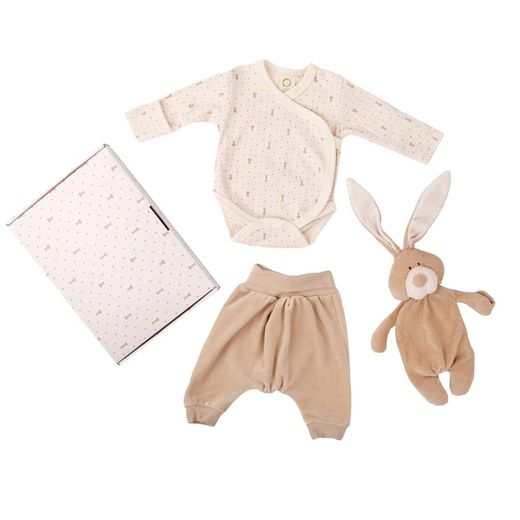 Baby gift set: body, velour pants and Bunny comforter with dummy holder